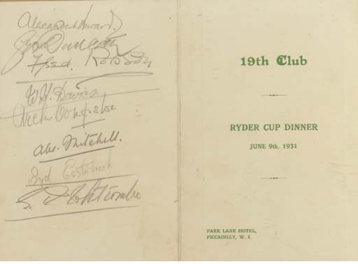 A 19TH CLUB, RYDER CUP DINNER