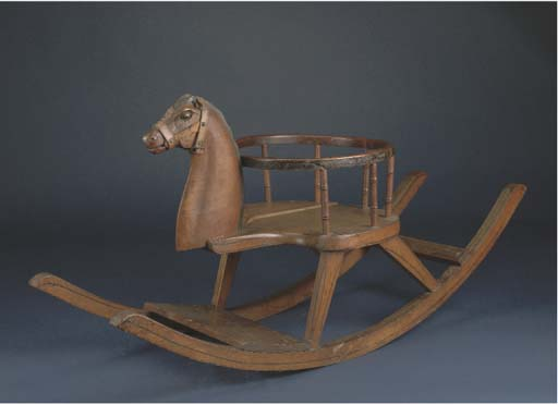 A small child's rocking horse