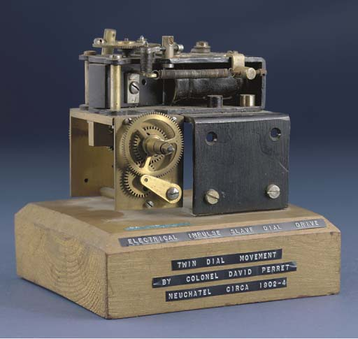 An early electro-magnet driven clock movement patent model
