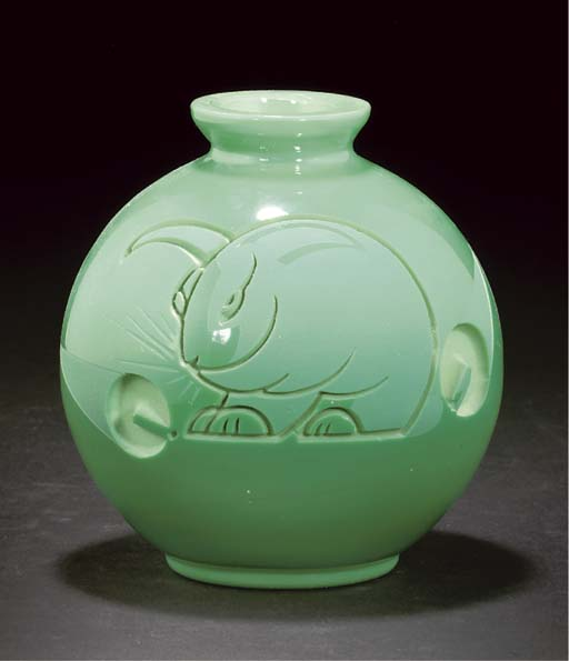 A Jarvil etched green glass va