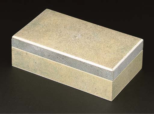 A SHAGREEN AND IVORY CIGARETTE BOX