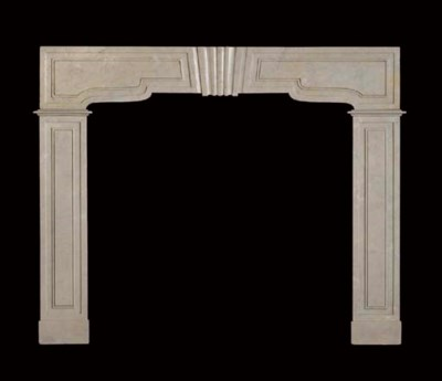 A beige fossil marble chimneyp