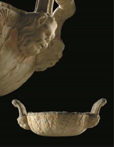 A white marble krater vase fra