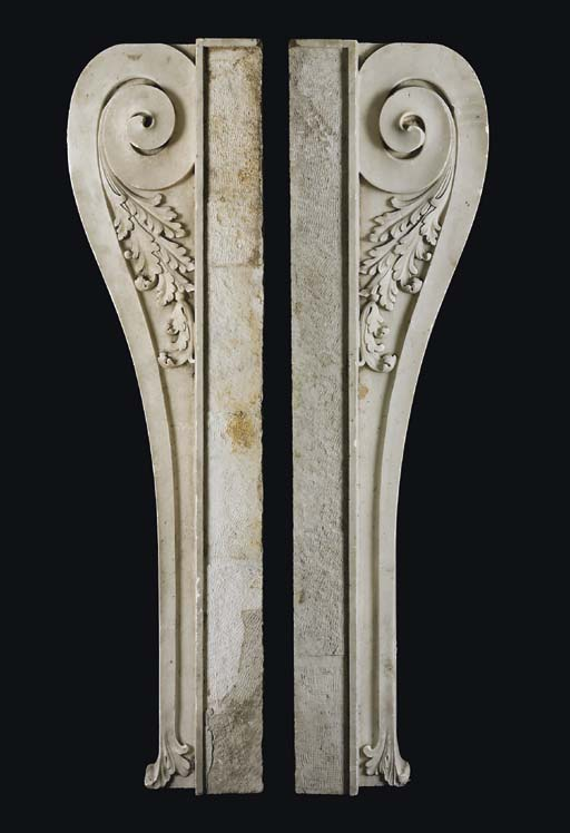 A pair of statuary marble chim