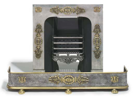 A Regency steel and brass moun