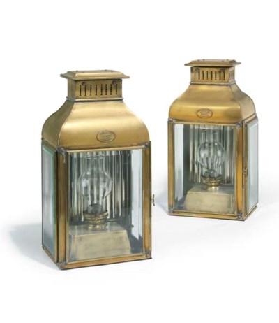 A pair of brass ship's lantern