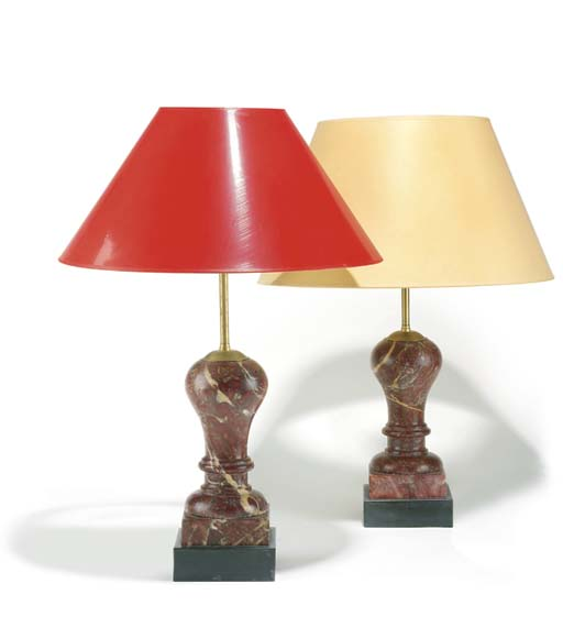 A pair of Victorian rouge marb