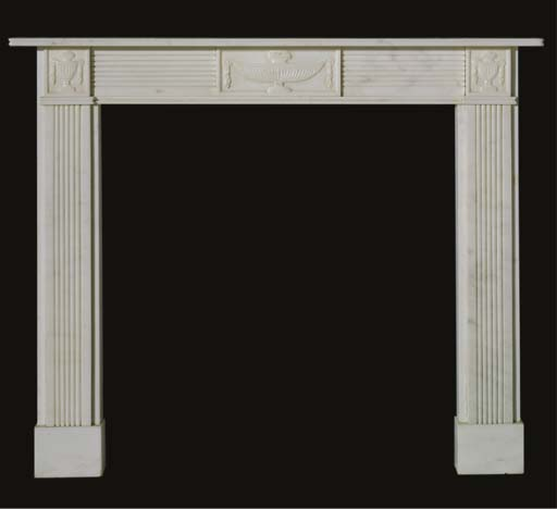 A white marble chimneypiece