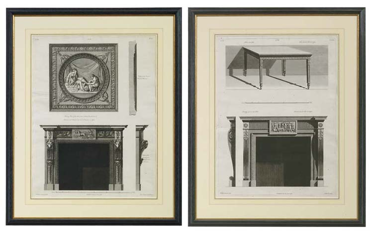 Two engravings of chimneypiece