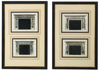 A set of four engravings of ch
