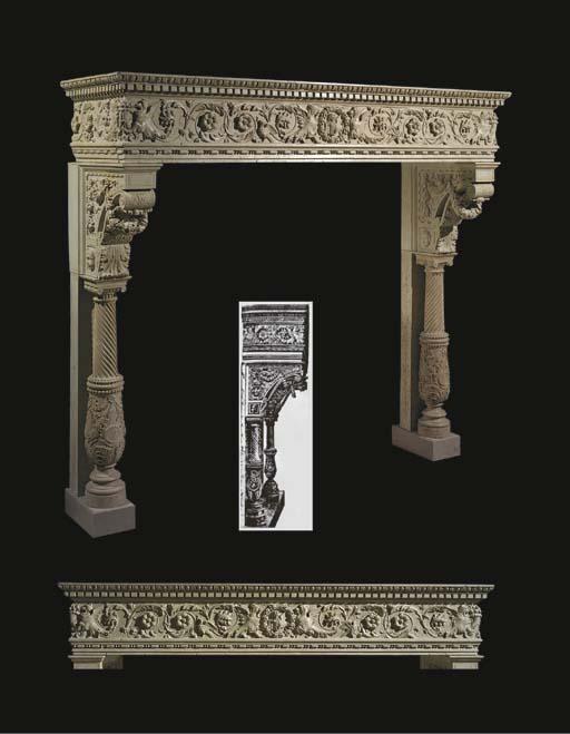 An Italian Istrian marble chim