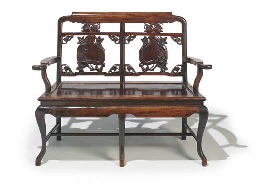 A Chinese hardwood hall seat