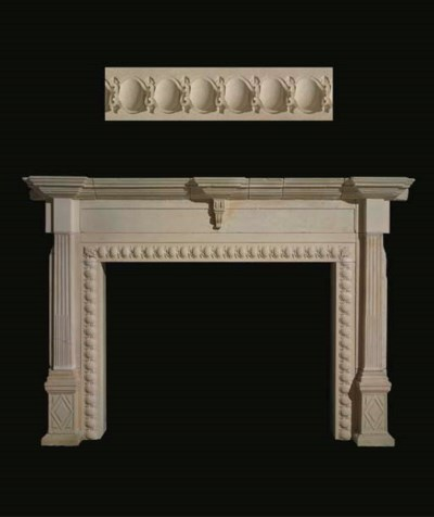 A carved stone chimneypiece