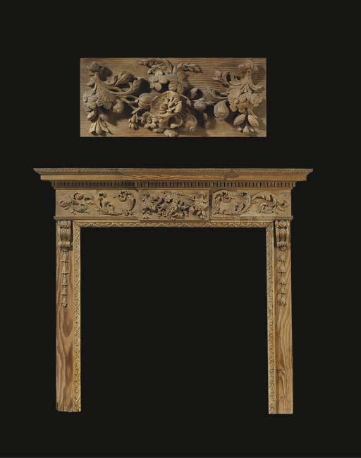 A George II carved pine chimne