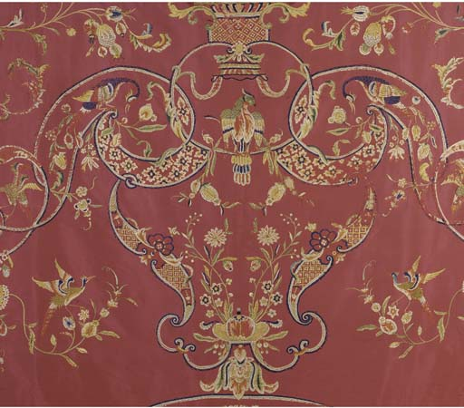 A PINK SILK COVERLET, MACAO, 18TH CENTURY, REAPPLIED IN 20TH CENTURY