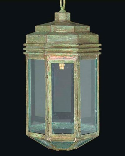 A GREEN PATINATED COPPER OCTAG