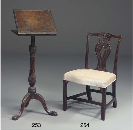 A GEORGE III MAHOGANY ADJUSTABLE READING STAND