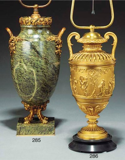A GILT BRONZE AND VARIEGATED M