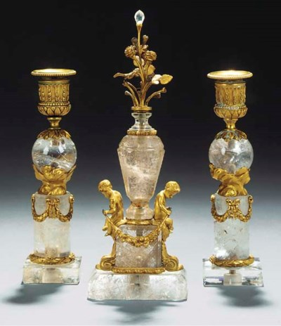 A ROCK CRYSTAL, GLASS AND ORMO