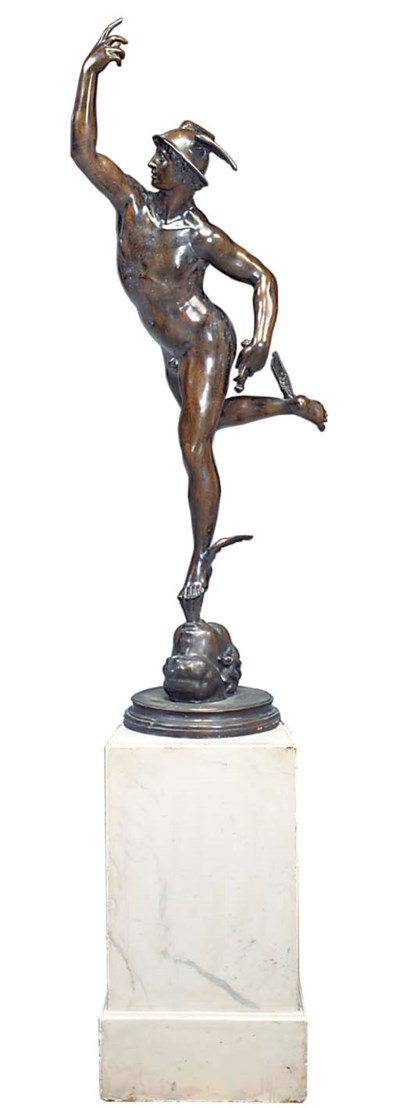 A BRONZE FIGURE OF MERCURY