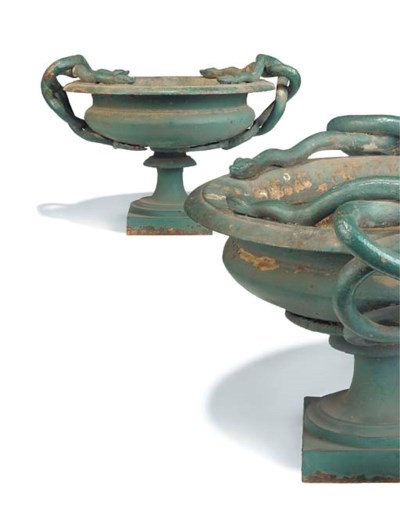 A PAIR OF FRENCH CAST IRON URN