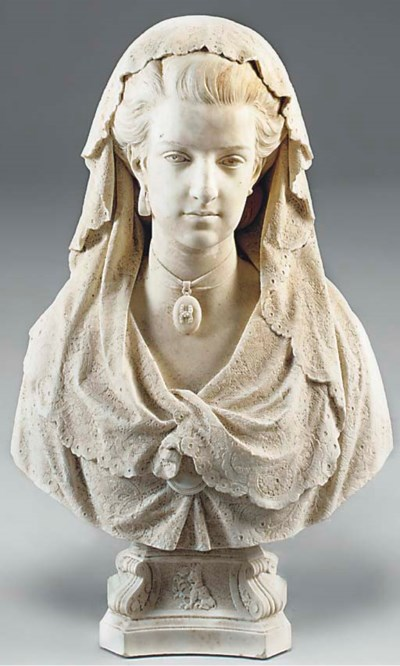 A WHITE MARBLE BUST OF THE GRA