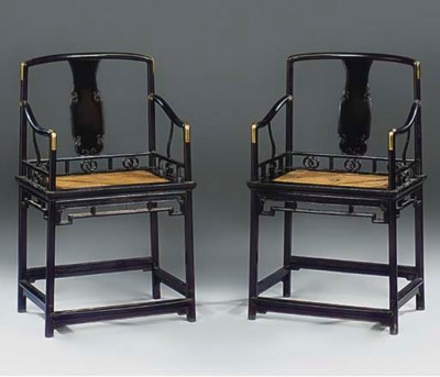 A PAIR OF CHINESE EBONY AND BR