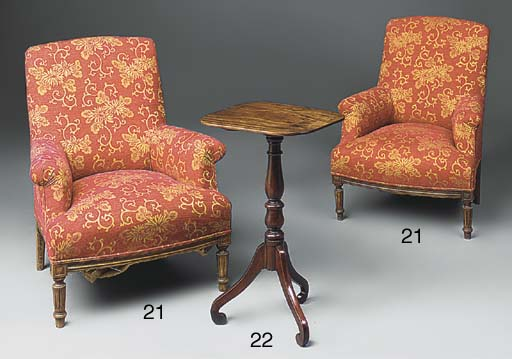 A pair of upholstered armchair