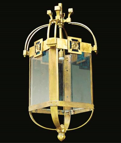 A BRASS HALL LANTERN