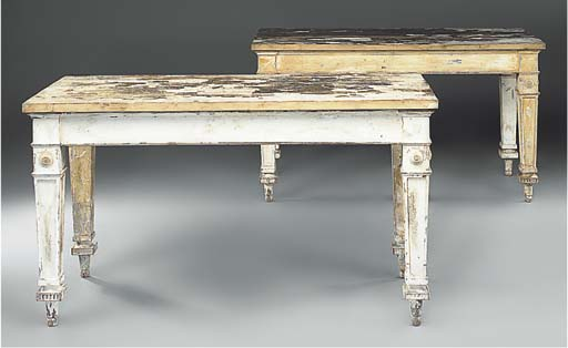 A pair of painted tables