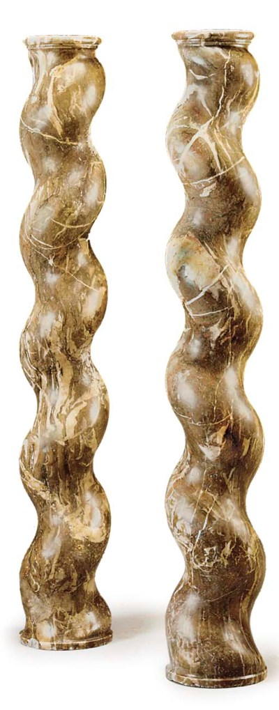 A PAIR OF BRECCIA MARBLE SPIRA