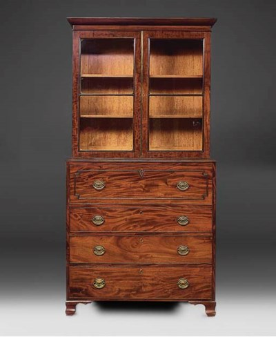 A mahogany secretaire bookcae