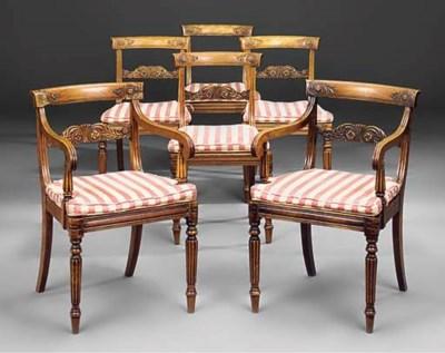 A set of six Regency beech and