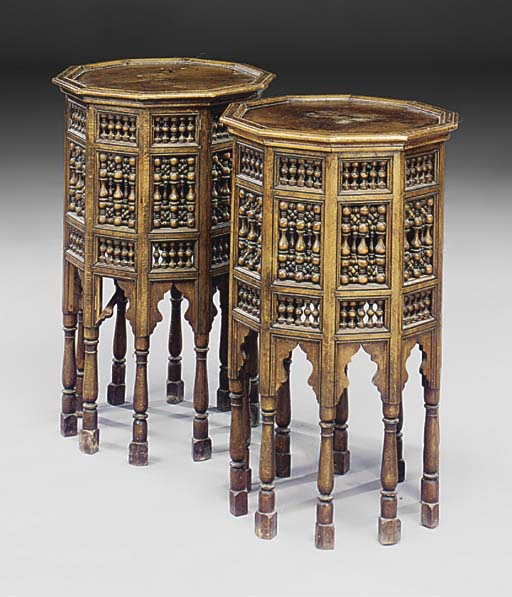 A PAIR OF MIDDLE EASTERN FRUITWOOD OCCASIONAL TABLES