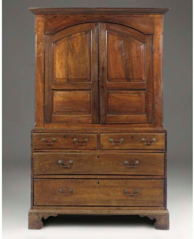 AN ENGLISH OAK PRESS CUPBOARD