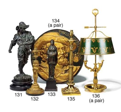 A WILLIAM IV BRASS TABLE LAMP