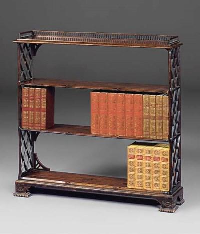 An open mahogany bookcase