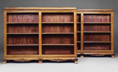 A pair of mahogany open bookca