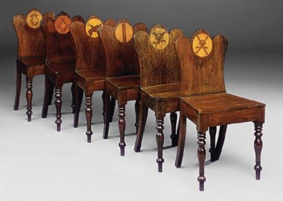 A SET OF SIX VICTORIAN PAINTED