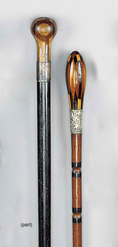 Three inlaid wood walking cane