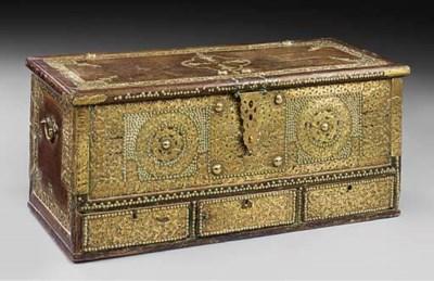 A hardwood and brass bound zan