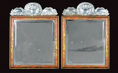 A PAIR OF GILT AND RED-JAPANNE