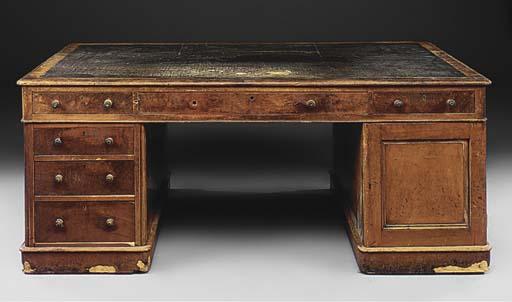 A Victorian mahogany partner's desk