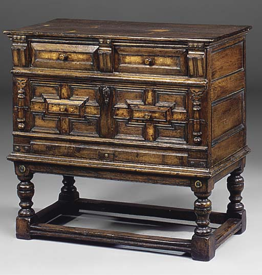AN OAK AND BURR OAK CHEST ON STAND