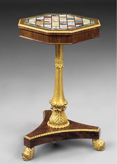 A ROSEWOOD GILTWOOD AND SPECIM