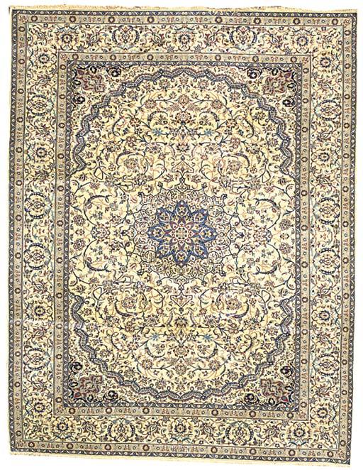 A fine part silk Nain carpet, Central Persia