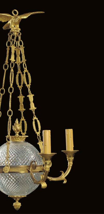 A cut glass and gilt bronze fo