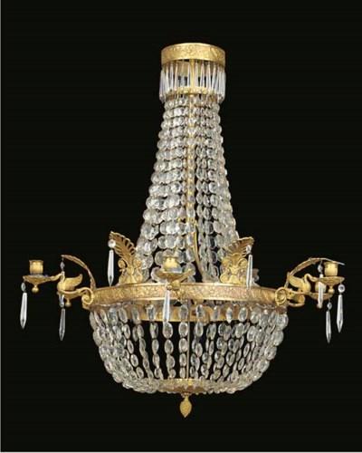 An Empire gilt bronze and glas