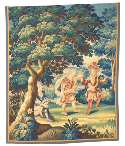 Flemish pastoral tapestry frag