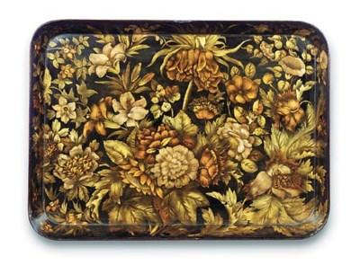 A George III papier mache tray